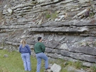 Mississippian Borden Formation, shelf with downslope fans and shales, I 64 just east of Morehead, Kentucky