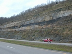 Road side outcrops expressing the geology of the stacked fluvial system sediments exposed in the Pennsylvanian Breathitt Formation just north of Louisa in Eastern Kentucky on US 23 on the western margin of the Appalachian Mountain foreland basin