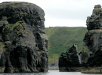 Sea Stacks of the Upper Clare Shale of the Upper Carboniferous (Namurian) exposed in the cliffs just south west of Bromore West of Co Kerry. These outcrops are just north of Ballybunion. The shales represent a change in the depositional setting from the underlying Dinantian carbonates.